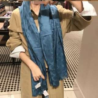 全新正品Coach 寶藍色披肩圍巾