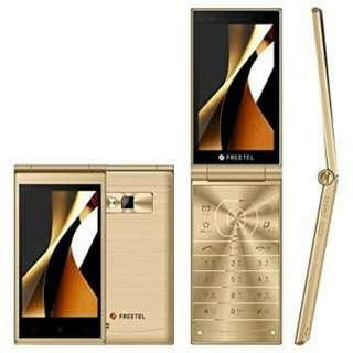Hp Lipat Flip Phone Freetel Musashi Dual Screen 4G Android (Gold)