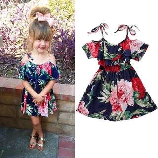 Baby Girl Flower Off-Shoulder Dress