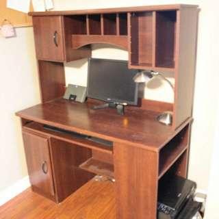Cherrywood coloured computer desk
