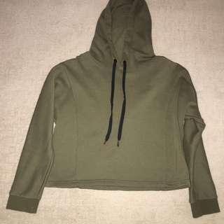 South beach Cropped khaki green hoodie
