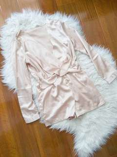 BOOHOO Silk/Satin Playsuit