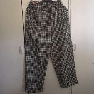 High Waisted Wide Legged Checkered Pants