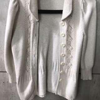 🚚 白色毛衣公主風外套