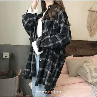 復古寬鬆bf中長款格子長袖襯衫(黑)