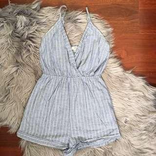 Ava Blue Stripe Playsuit Size 6