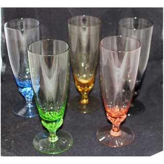Vintage Retro Harlequin Coloured Twisted Stem Champagne Glasses