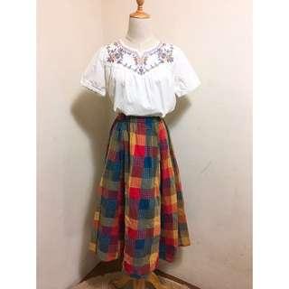 全新刺繡棉麻上衣+全新棉麻彩色格紋裙