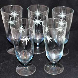 Retro vintage set Star Burst Glasses Champagne or Wine