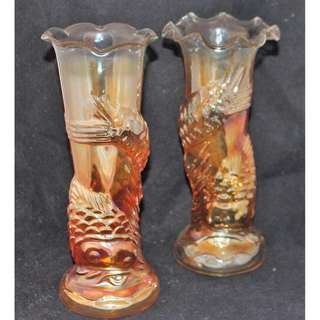 Collectible Carnival Glass Jain Fish Vases x 2