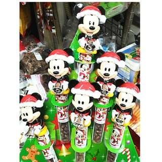 日本 迪士尼手搖鈴鐺巧克力 聖誕節 派對米奇玩具巧克力棒