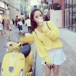 韓 可愛黃色v領針織毛衣