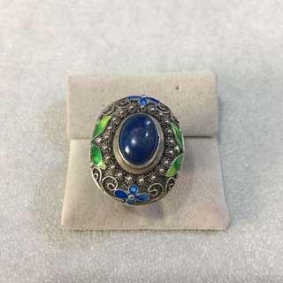 純銀花絲青金石戒指