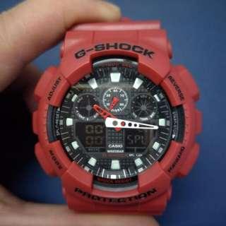 經典大紅(CASIO)卡西歐G-SHOCK系列手錶watchGA-100B-4A男錶Men's watch