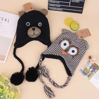 外貿原單二款可愛貓頭鷹小熊造型超保暖寶寶外出保暖帽護耳毛線帽