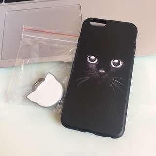 Iphone 6 黑貓 case + 貓造型手指圈