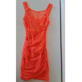 Bardot Orange Bandage Dress FREE POSTAGE