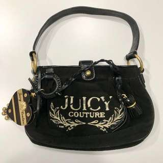 Authentic Juicy Couture Heart And Tassel Velour Leather Small Handbag