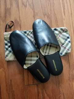 Authentic Burberry men's black leather slippers