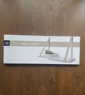 Strap wall shelf