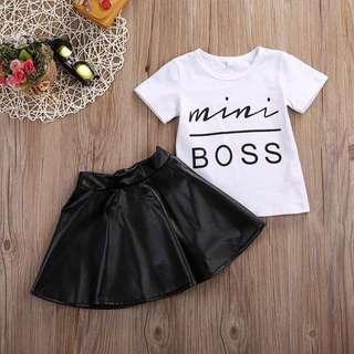 🌟INSTOCK🌟 2pc Mini Boss TOP Tshirt and Black Skirt for Baby Toddler Girl Children Kids Clothing