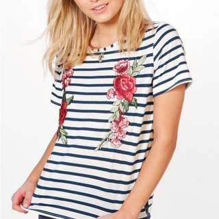 Boohoo Striped Embroidered T Shirt