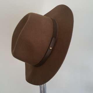 Olive + Brown Fedora Wool Hat