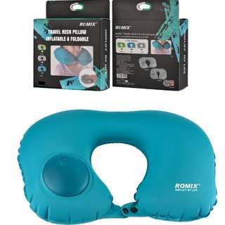 ROMIX ®Press Inflatable Travel Pillow For Airplane U Shape Pillow Neck Folding Simple Portable Neck