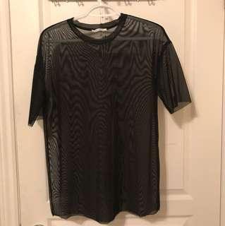 Zara Black Mesh Top
