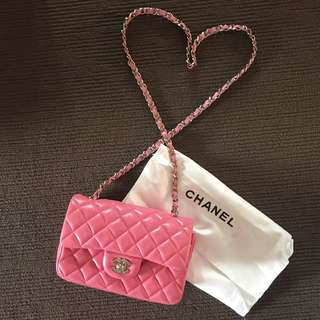 Pink 20cm leather bag