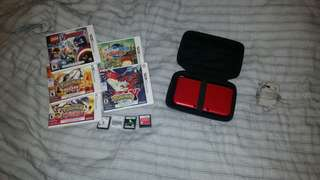 Red Nintendo 3ds + accessories and games