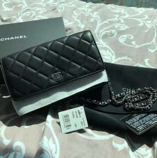 100% Original CHANEL black and silver CC logo WOC wallet on chain