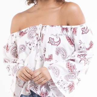 Off the shoulder paisley top size 10