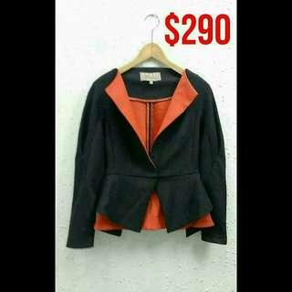 Space Couture 黑紅色修腰西裝外套 (意大利製)