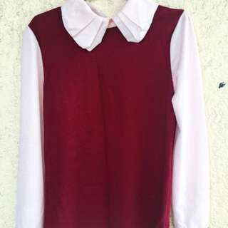 Red Long Sleeve with Collar Top