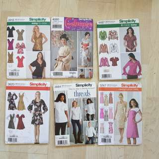 Simplicity paper sewing patterns (lot of 6)