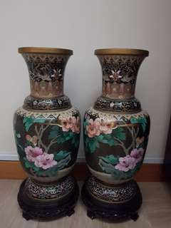 Antique Vase (brass) with flowers per pair