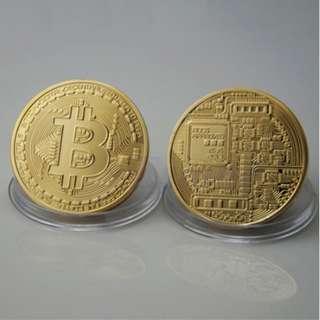 Bitcoin Golden Art Physical Collectible BTC Souvenir Coin Token