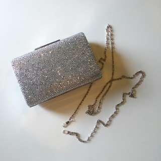Silver Rhinestone Studded Clutch