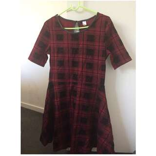 H&M short check dress