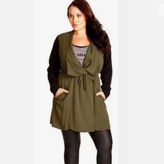 "City Chic M/18 green khaki black ""Long Weekend"" women long coat jacket plus size"