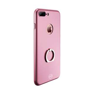 Joyroom iPhone 7+ Case w/Tempered Glass & Phone Ring Holder (pink)