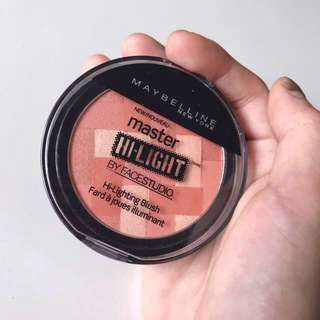 maybelline coral blush master highlight hilight hi light