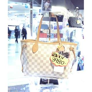 LV Louis Vuitton White Damier Azur Neverfull PM Shopping Shoulder Tote Hand Bag 路易威登 白色 格仔 棋盤花 手挽袋 手袋 肩袋 袋 購物袋