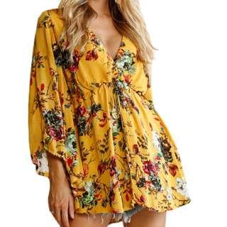 Yellow floral mini dress/top