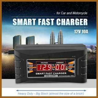 Smart Fast 12v Battery Charger w/LCD Display For Motorcycle & Car