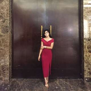 sabrina dress merah cantik😍