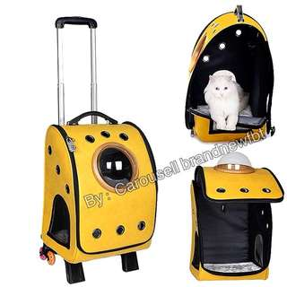 Pet Carrier Latest 15 holes Synthetic leather In stock Pet Cat Dog Carrier Trolley Backpacks Shoulders Travel Bags Outdoor yellow