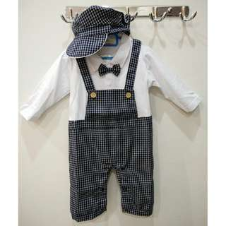 New Handsome Boy Bowknot Gentleman Stand Collar Long Sleeve Romper Suit with Hat