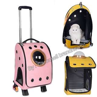Luggage Latest 15 holes Synthetic leather In stock Pet Cat Dog Carrier Trolley Backpacks Shoulders Travel Bags Outdoor pink